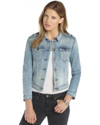 Burberry Brit Vintage Blue Stretch Denim Patch Pocket Long Sleeve Jacket - Lyst