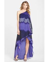 Halston Heritage Dip Dye Chiffon One-Shoulder High/Low Gown - Lyst