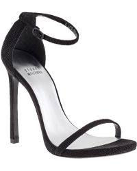 Stuart Weitzman Nudist Ankle Strap Sandal Black Leather - Lyst