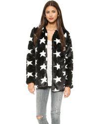 Re:named - Star Faux Fur Coat - Black/White - Lyst