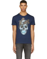 Alexander McQueen Navy Skull and Feathers T_shirt - Lyst
