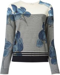 Tory Burch Floral Fine Knit Sweater - Lyst