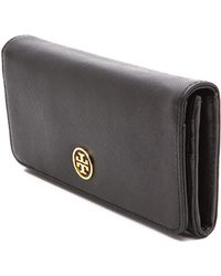 Tory Burch Saffiano Envelope Continental Wallet Luggage - Lyst