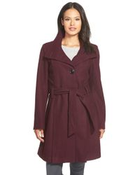Gallery - Belted Skirted Wool Blend Coat - Lyst