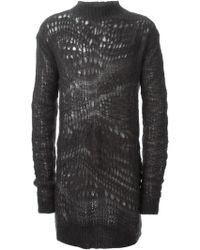 Rick Owens Long Open Knit Sweater - Lyst