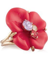 Nina Ricci Goldtone Resin and Crystal Ring - Pink