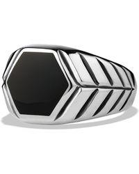 David Yurman Modern Chevron Signet Ring with Black Onyx - Lyst