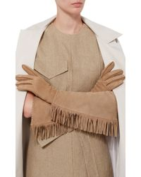Imoni - Long Suede Gloves With Fringing - Lyst