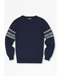 French Connection Indigo Patch Fair Isle Jumper - Lyst