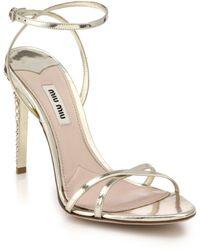 Miu Miu Swarovski Crystal-Heel Metallic Leather Sandals - Lyst