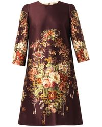 Dolce & Gabbana Floral and Key-print Duchess-satin Dress - Lyst