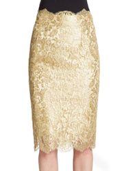 Dolce & Gabbana Metallic Lace Pencil Skirt - Lyst