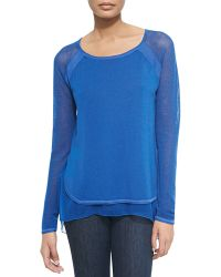 Elie Tahari Tipper Sweater W Mesh Sleeves - Lyst