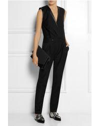 Karl Lagerfeld Emilia Leathertrimmed Woolpiqué Jumpsuit - Lyst