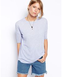 Asos Top With Curved Hem In Neppy - Lyst