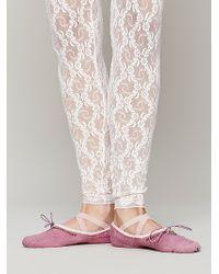 Free People Capezio Womens Cloche Canvas Ballet Slipper - Pink