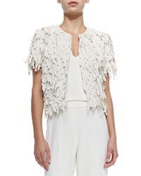 Brunello Cucinelli Short-Sleeve Silk Fringe Jacket - Lyst