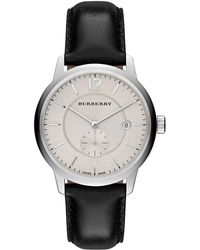 Burberry Ladies Stainless Steel Leather Strap Watch silver - Lyst