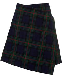 Awake Navy Plaid Wrap Skirt - Lyst