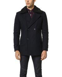 Native Youth Sherpa Collar Pea Coat - Black