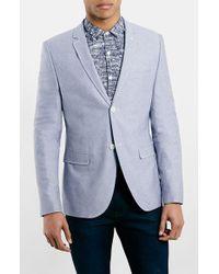 Topman Men'S Blue Oxford Skinny Fit Suit Jacket - Lyst