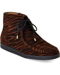 Isaac Mizrahi New York - Leopard Wedge Bootie - Lyst