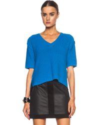Mm6 By Maison Martin Margiela Short Sleeve V-neck Viscose-blend Pullover - Lyst