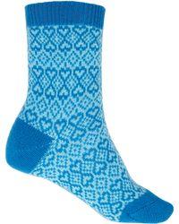 Pantherella - Blue Heart Cashmere-blend Socks - Lyst