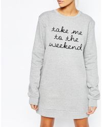 Adolescent Clothing Boyfriend Sweater Dress With Weekend Print - Gray