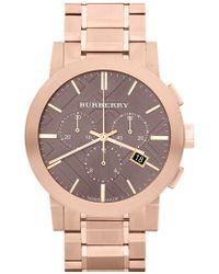 Burberry Large Chronograph Bracelet Watch - Metallic