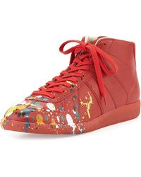 Maison Martin Margiela Splatter Detail Midtop Replica Sneaker - Lyst