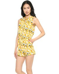 Shades of Grey by Micah Cohen - Gathered Shoulder Romper - Lemons - Lyst
