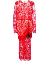 Alessandra Rich Ruched Detail Lace Gown red - Lyst
