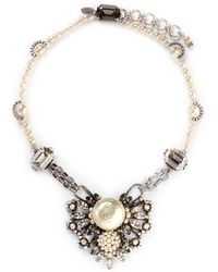 Miriam Haskell Pearl Crystal Station Floral Pendant Necklace - Lyst