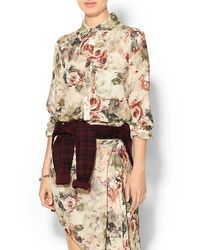 Haute Hippie To Jj with Love Printed Button Down Blouse - Lyst