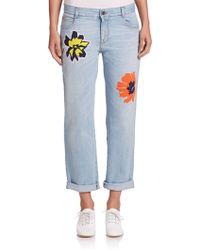 Stella McCartney   Flower Patch-embroidered Skinny Boyfriend Jeans   Lyst