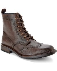 Joseph Abboud Dark Brown Preston Wingtip Boots - Lyst