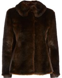 Eliza J - Faux Fur Coat with Pu Side Panels - Lyst