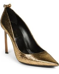 Lanvin Crystal-Studded Metallic Leather Pumps - Lyst