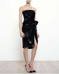 Lanvin Metallic Velvet Bustier Dress - Lyst