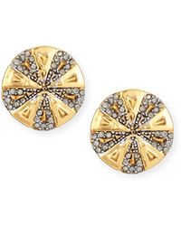 House of Harlow 1960 - Two-tone Crystal Button Earrings - Lyst