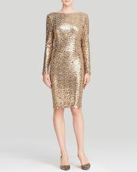 Badgley Mischka Dress - Sequin Drape Back - Lyst
