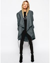 Asos Parka With Waterfall Front - Lyst