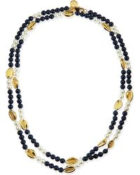 Tory Burch Mikah Simulated Pearl  Shell Rosary Necklace Gold - Lyst
