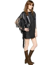 Saint Laurent Fringed Leather Dress - Lyst
