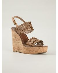 Tory Burch Floral Perforated Wedge Sandals - Lyst