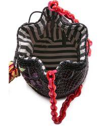 M Missoni Raffia Embroidered Bucket Bag - Black