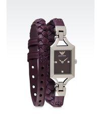 Emporio Armani Purple Watch - Lyst