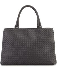 Bottega Veneta Woven Double-Compartment Tote Bag gray - Lyst