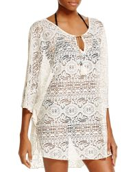 Lucky Brand Fly Away Lace Caftan Swim Cover Up - Natural